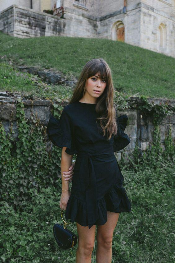 black ruffle dress tie up