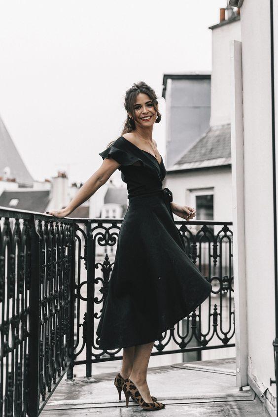 black ruffle dress vintage