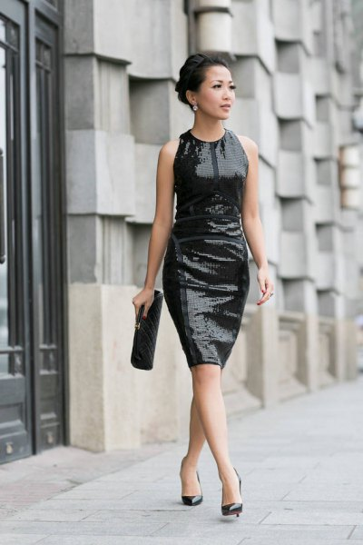 black sequin sheath dress ballet heels