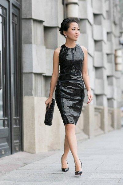 black sequin sheath dress ballet heels