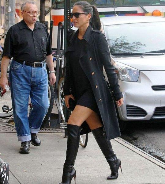 black shift dress long blazer knee high boots