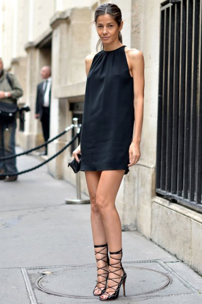 black shift dress strappy heels