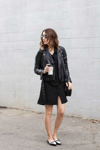 black shirt dress leather jacket ballet loafers