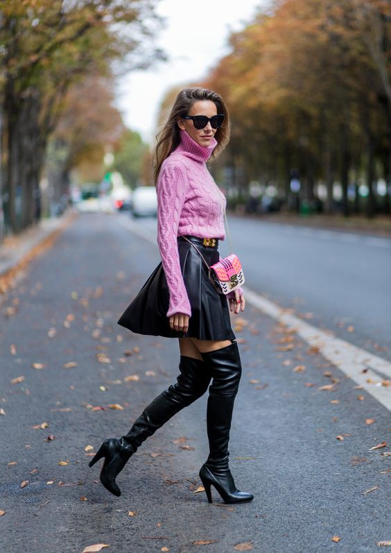 black skater skirt leather pink sweater