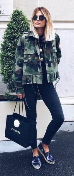 black skinny jeans camo jacket