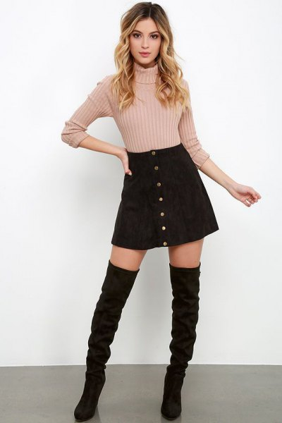 black suede button up skirt