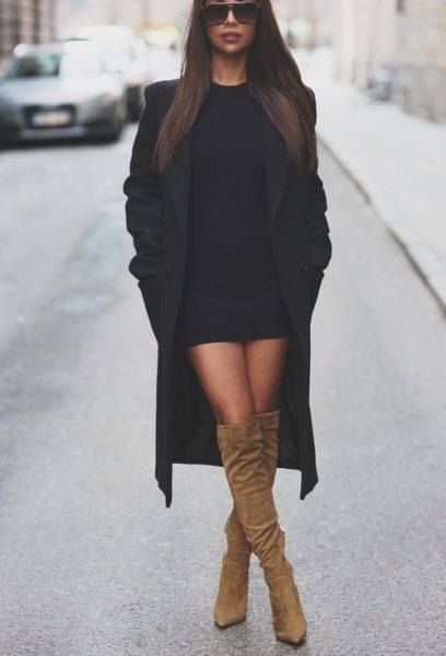 455c66f03e2 Black Sweater Dress with Long Wool Coat   Brown Knee High Boots