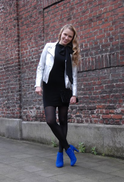 black sweater dress royal blue ankle boots