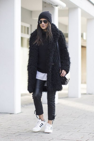 black teddy coat all black outfit