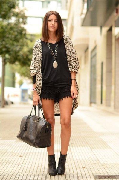 black v neck t shirt cheetah cardigan