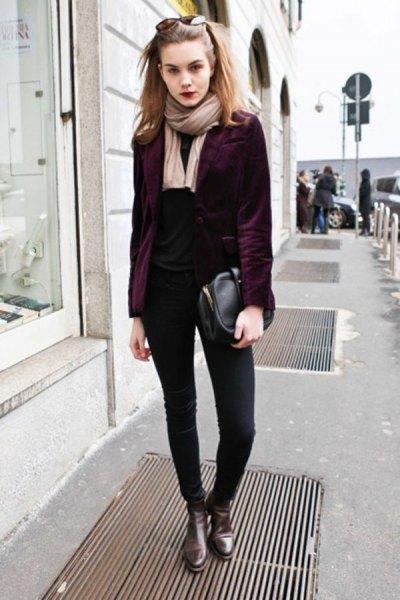 black velvet blazer all black outfit