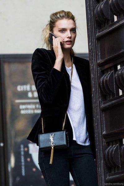 black velvet blazer white t shirt outfit