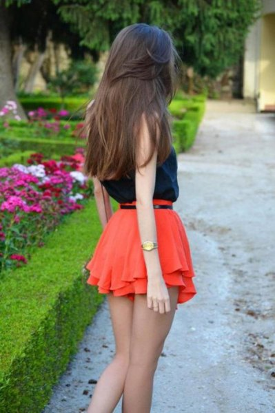 black vest top orange ruffle chiffon shorts