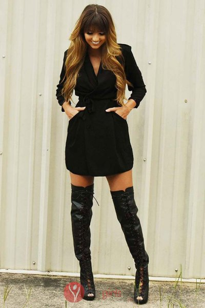 black wrap dress lace up thigh high boots