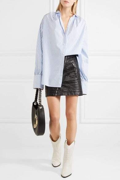 blue and white striped boyfriend shirt black leather skirt