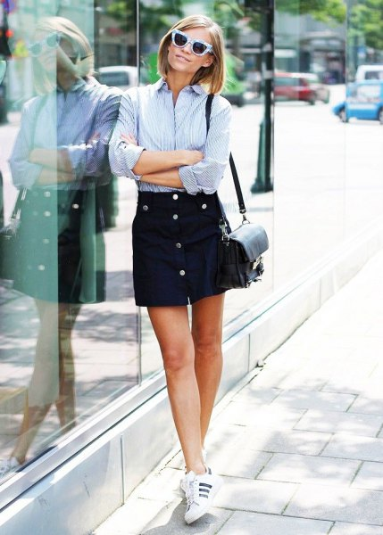 blue and white striped shirt black button up skirt