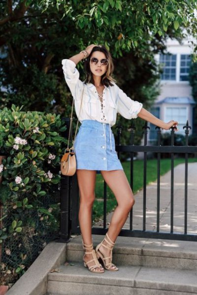 blue button up skirt outfit