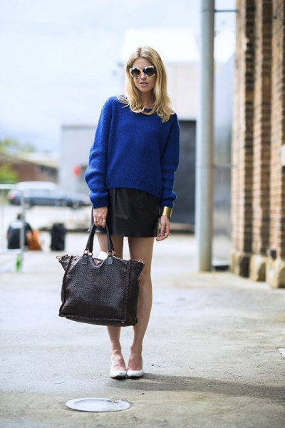 blue knit sweater black leather mini skirt