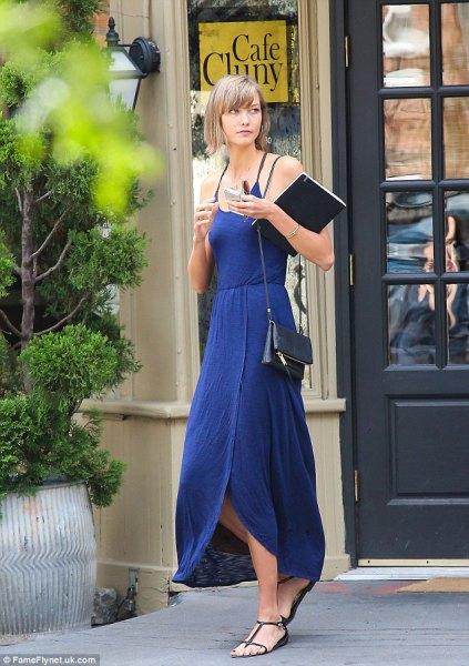 blue maxi slip dress sandals