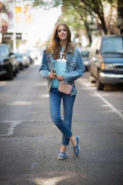 blue slip on canvas shoes denim jacket jeans