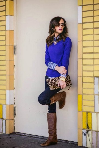 blue sweater checked shirt skinny jeans