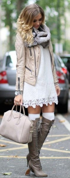 boho style shift dress knee high boots