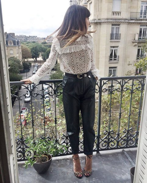 boho top black leather pants