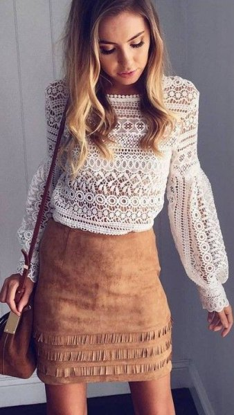 boho white top camel suede skirt