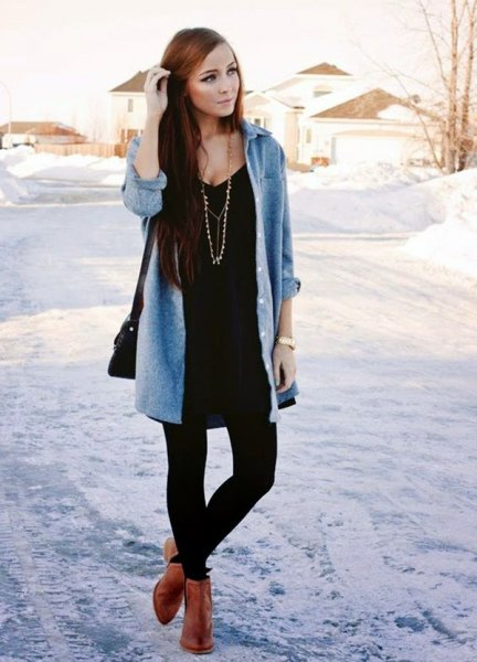 brown ankle boots black t shirt dress leggings