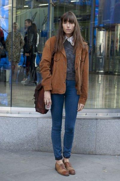 brown corduroy jacket heather grey sweater