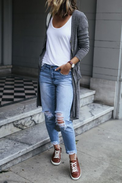 brown leather sneakers long grey cardigan