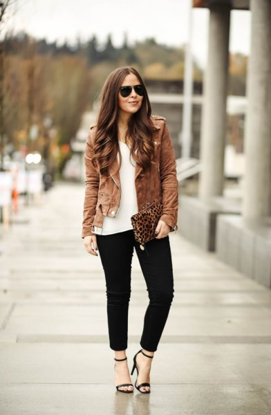brown suede jacket outfit