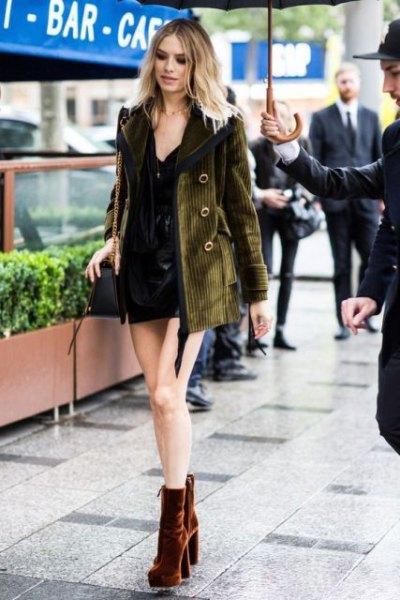 brown velvet ankle boots black shirt dress