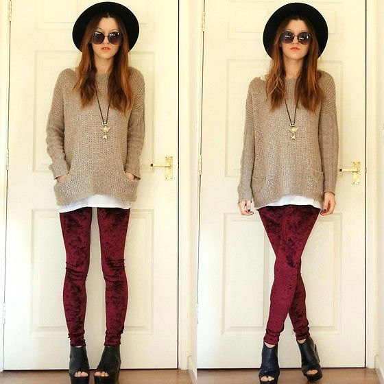 burgundy leggings grey comfy knit sweater