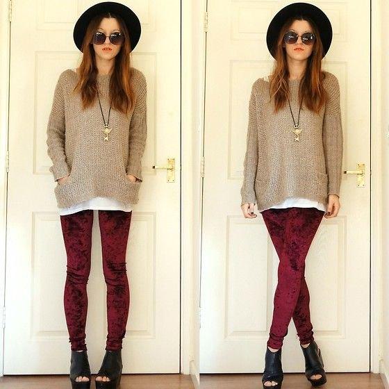 burgundy leggings grey comfy knit sweater