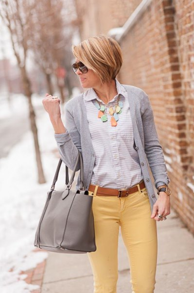 button up shirt grey cardigan