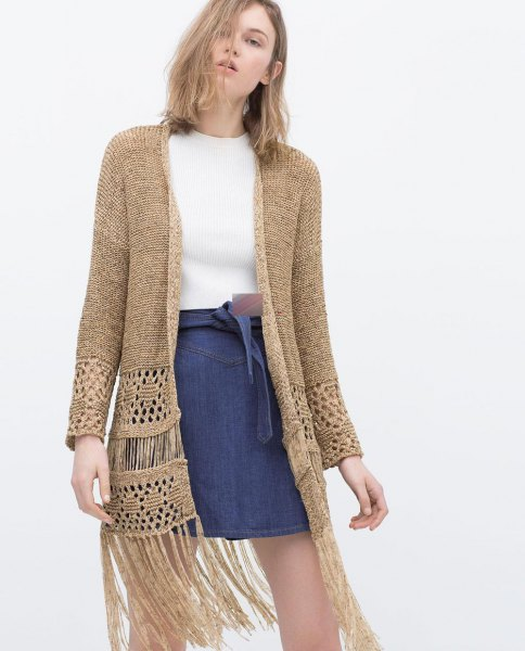 camel crochet cardigan unwashed denim skirt