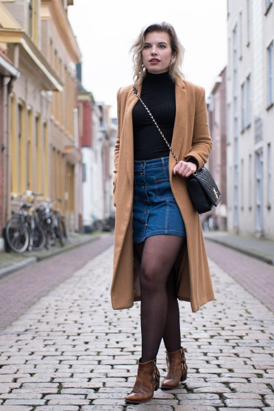 camel long coat denim skirt
