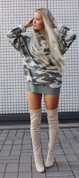 camo hoodie dress thigh high boots