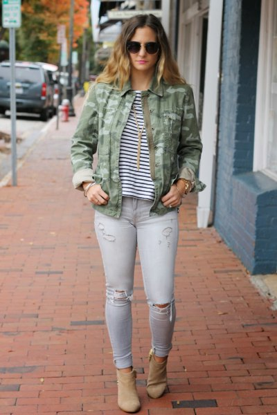 Women Camo Skinny Jeans