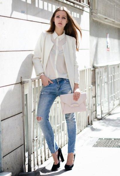 chiffon shirt white blazer ripped jeans
