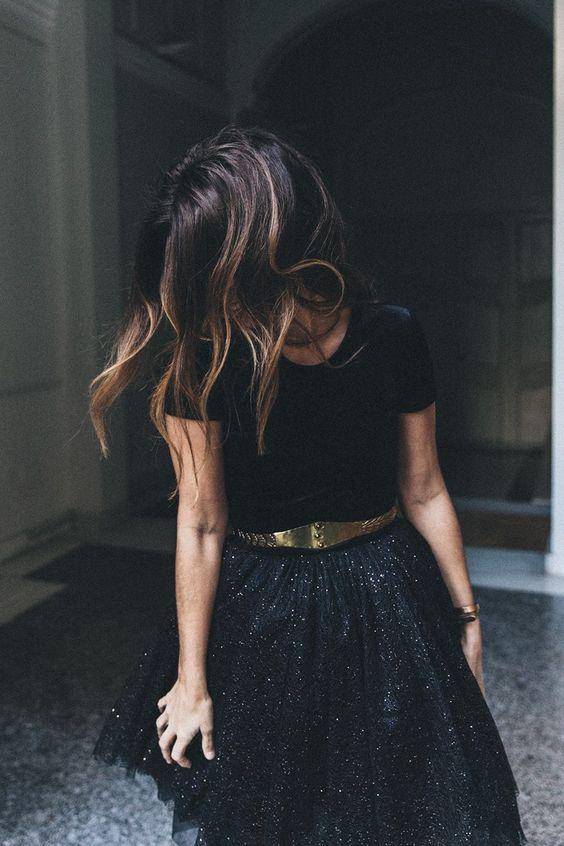 chiffon skirt black sequins