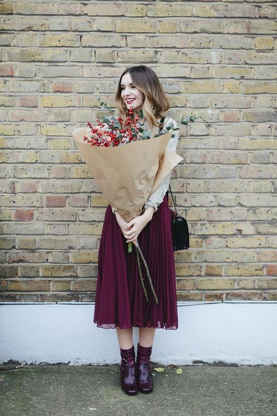 chiffon skirt burgundy