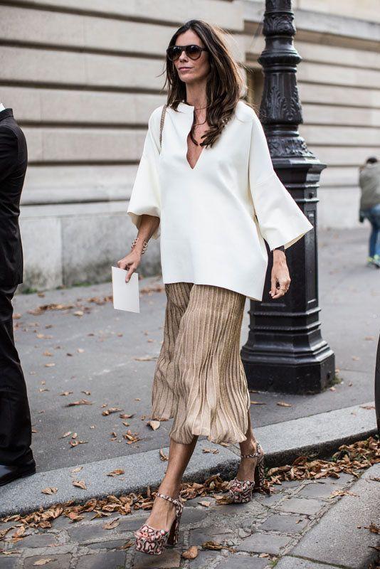 chiffon skirt gold white