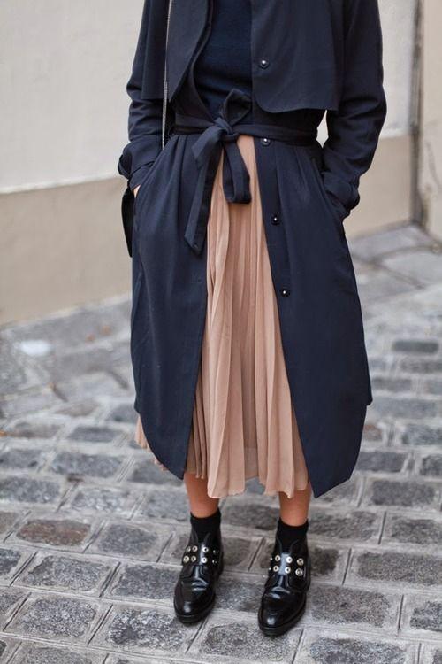 chiffon skirt trench coat