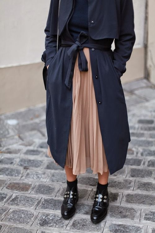 chiffon skirt trench coat