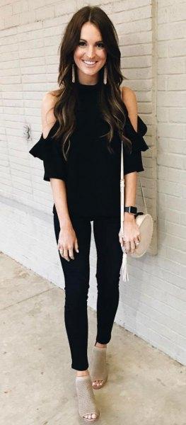 cold shoulder black top skinny jeans
