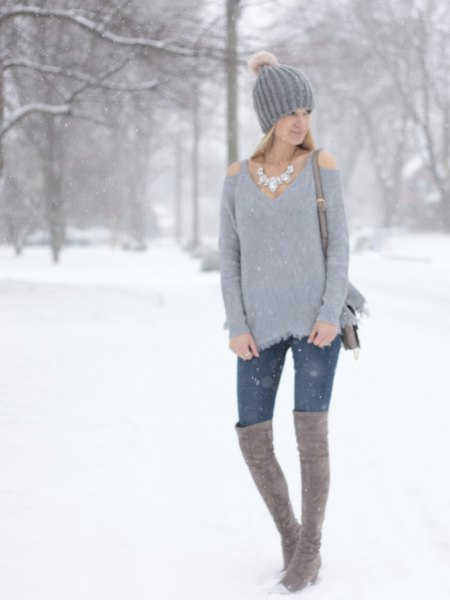 cold shoulder sweater skinny jeans knee high boots