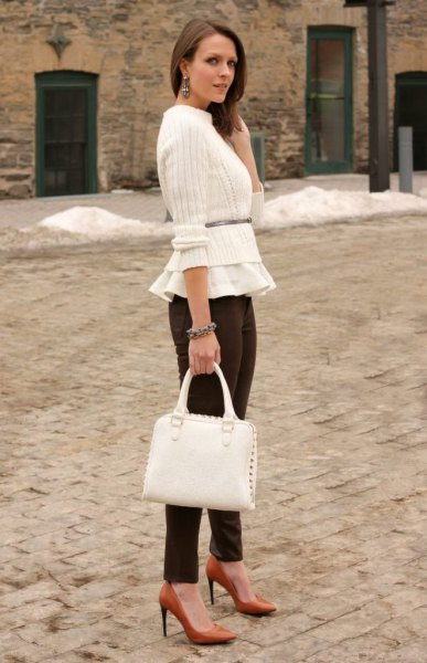 corduroy pants white cropped sweater peplum top