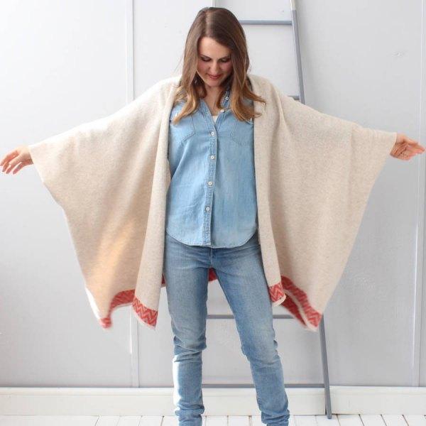 cream blanket cardigan denim shirt jeans